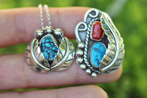 Hand fabricated sterling silver Kingmand turquoise ring and necklace set