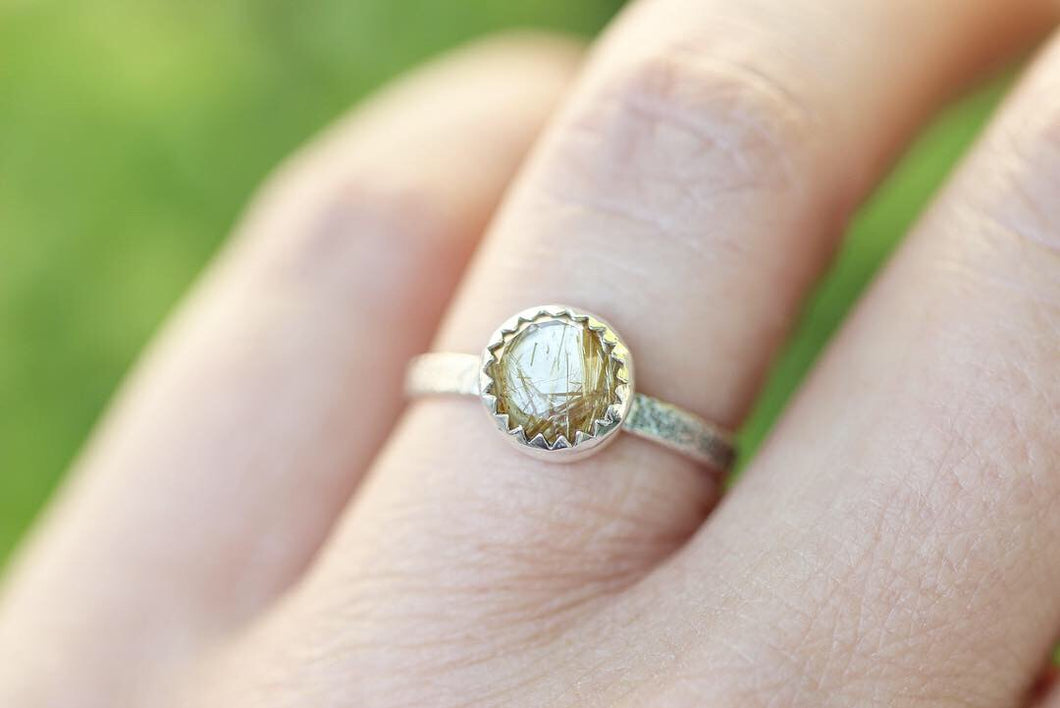 Golden rutilated quartz stacking ring US size 6.5