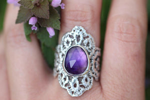 Made to size - Rose cut amethyst boho lace ring