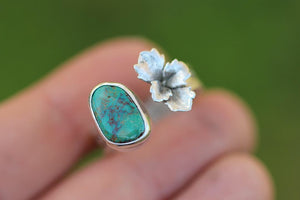 Succulent and pilot mountain turquoise split ring (adjustable)