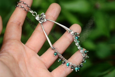 Lucky silver wishbone, succulent and turquoise necklace
