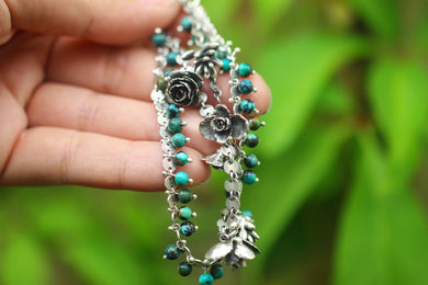 Pinned succulent and turquoise double layer bracelet