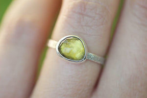 Yellow tourmaline stacking ring US size 6.5