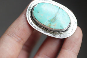 Large sterling silver turquoise mountain statement ring US size 8
