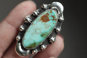 Large statement high grade Royston turquoise ring US size 7.5