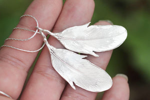 Reversible sterling silver feather necklace