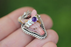 Carved pink opal wolf succulent leafy vine ring/necklace made to finish