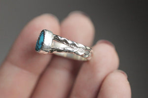 Sterling silver high grade morenci turquoise ring US size 6.5