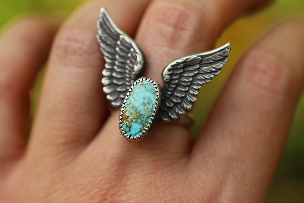 Winged turquoise ring US 7.5