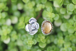 Adjustable succulent and citrine floral ring
