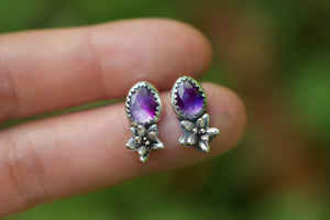 Amethyst succulent stud earrings