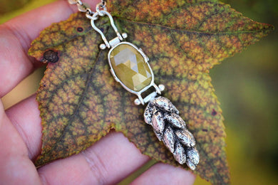 Rose cut yellow sapphire cast silver wheat necklace