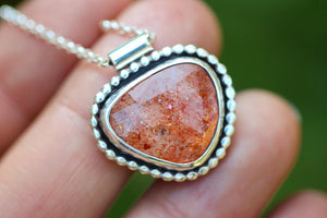 Rose cut rainbow sunstone necklace