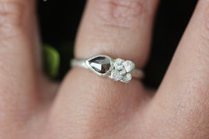Sterling silver rose cut diamond ring US 5