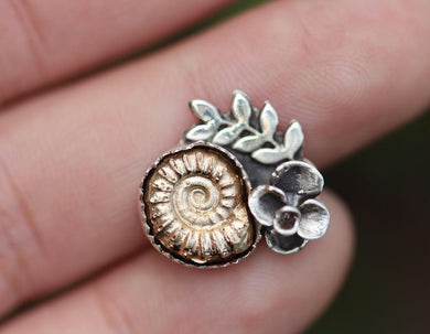 Made to size cast bronze ammonite succulent ring #1