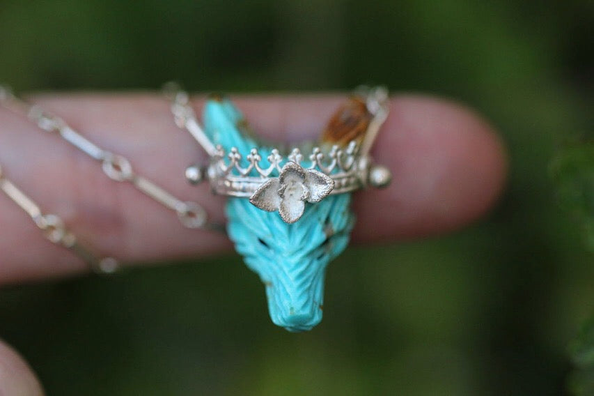 Medium turquoise and succulent crown carved wolf necklace