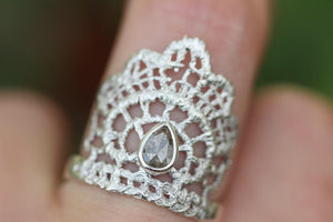 Rose cut diamond lace ring US size 8