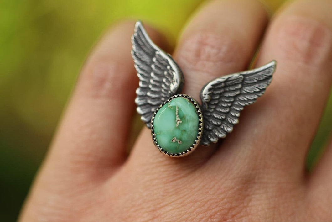 Winged natural Damele turquoise ring US 6