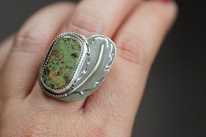 Natural Royston turquoise feather ring US 7.5