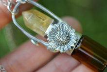 Rollerball necklace - Sterling silver citrine crystal point sunflower twig rollerball necklace
