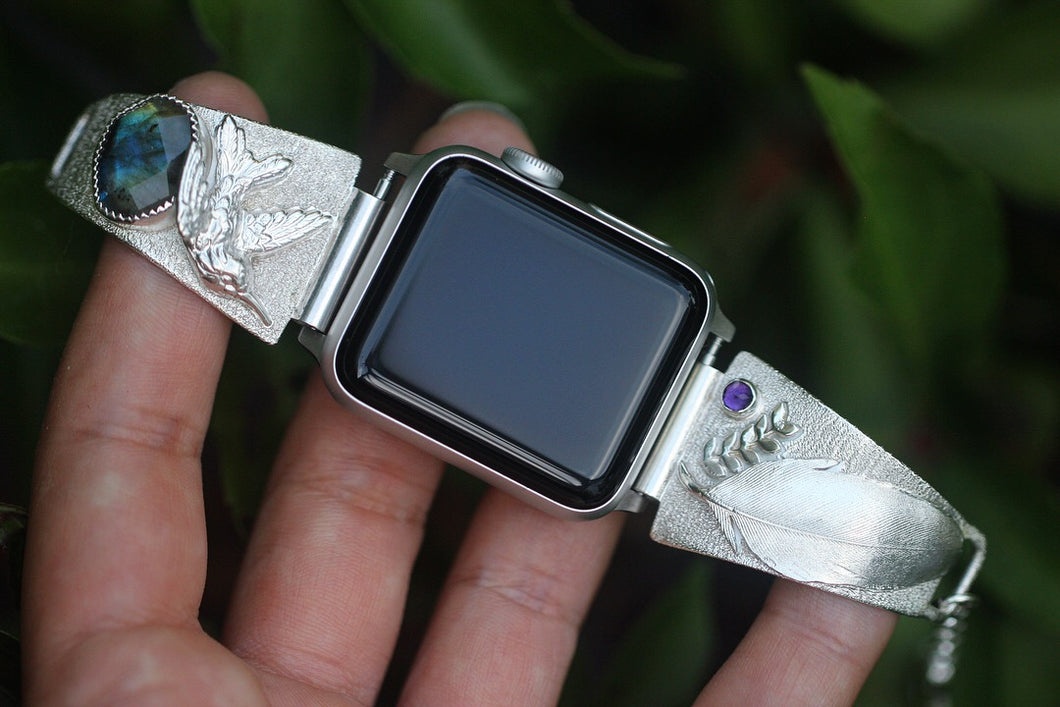 Hand fabricated sterling silver apple watch bands