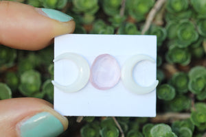 Mother of pearl moon and rose cut rose quartz lot