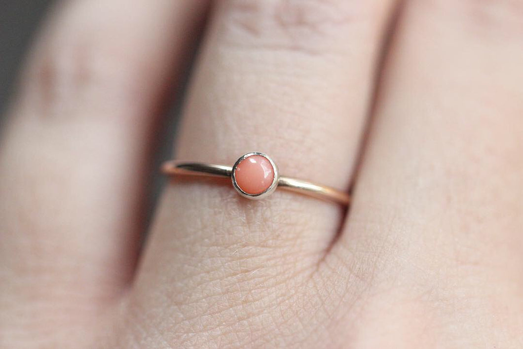 Sterling silver and 14k rose gold filled pink coral stacking ring US size 6.75