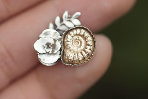 Made to size cast bronze ammonite succulent ring #4