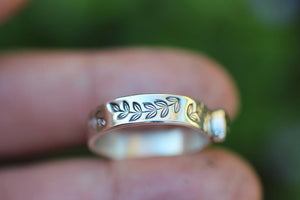 leafy vine band upgrade for makde to size sapphire rings
