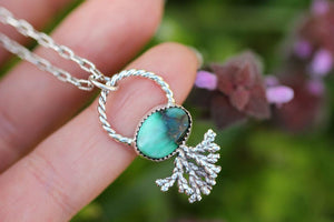 Turquoise cypress spray necklace