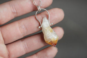 pinned citrine point arrow necklace