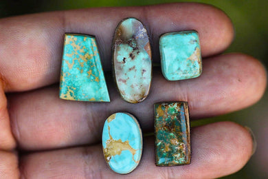 Destash natural Royston turquoise cabochon lot