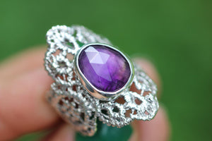 Rose cut amethyst boho lace ring US size 8
