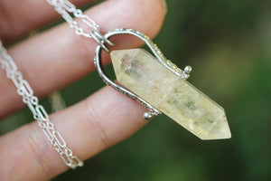 Pinned citrine crystal point necklace