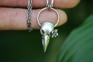 Mini succulent raven skull necklace #2