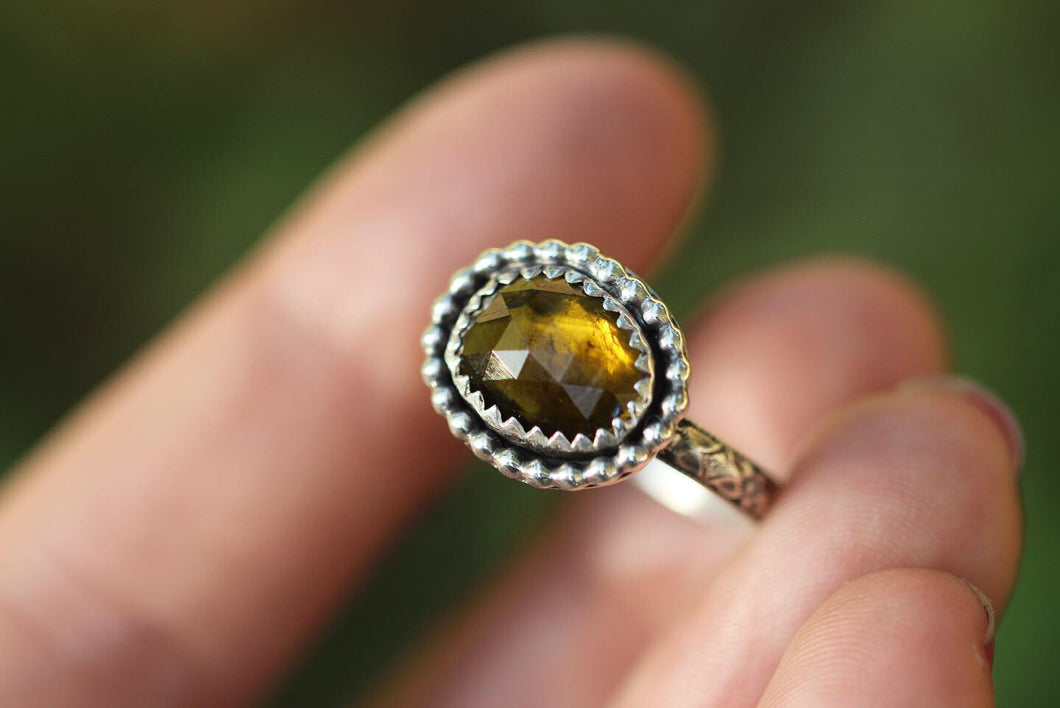 Rose cut earthy tourmaline ring US 7.5