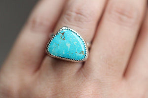 Sterling silver Kingman turquoise double band ring US size 7