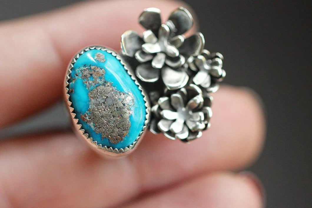Natural Morenci turquoise and succulent ring US size 9