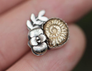 Made to size cast bronze ammonite succulent ring #2