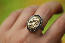 Victorian skeleton cameo medallion ring US 7.5