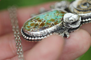Rare natural rattlesnake turquoise owl necklace