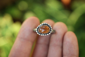 Rose cut earthy tourmaline ring US 6.5