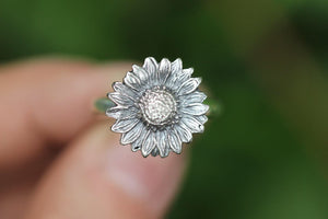 Sterling silver sunflower ring US 9