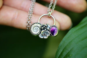 Cast sterling silver ammonite succulent with rose cut amethyst necklace