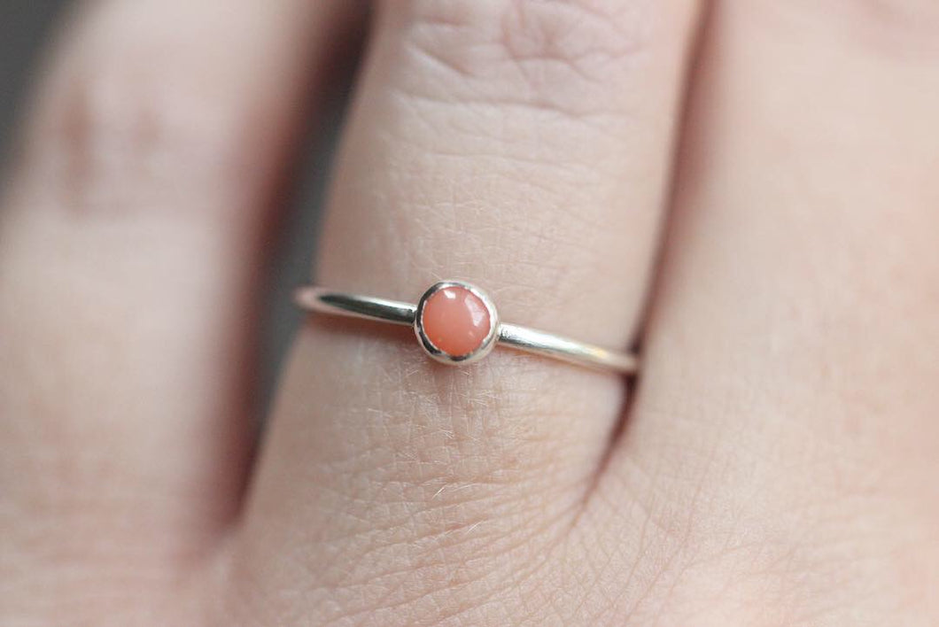Sterling silver pink coral stacking ring US size 6.25