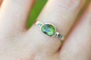Green Damele turquoise stacking ring US size 8