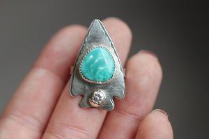 Sterling silver Kingman turquoise arrow ring US size 7