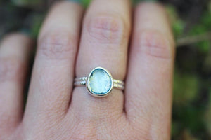 Rose cut blue topaz US size 7