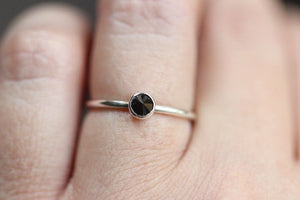 Sterling silver black spinel stacking ring US size 5.25