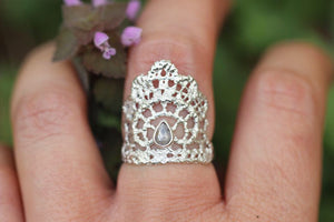 Rose cut diamond lace ring US size 7